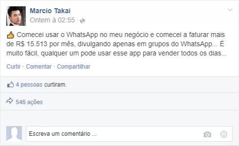 Prova social Marcio Takai - Guia Secreto de Vendas no WhatsApp