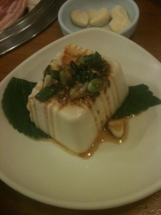 Delicious soft tofu with green onion and flavorful soy sauce and chili.