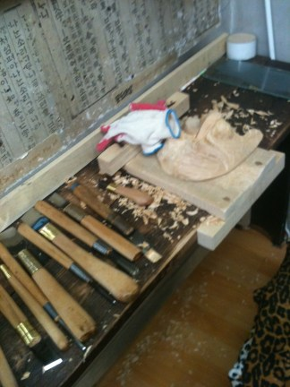 A woodcarver's toolset.