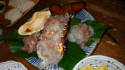 The best sashimi I have ever eaten in my entire life. This is a famous kind of giant shrimp, super costly. Nanami's spouse gifted it to Ryo.