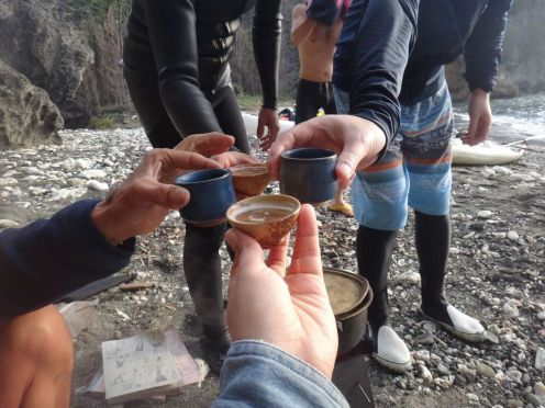 """We drink sake, saying """"Campai,"""" as we toast the New Year."""