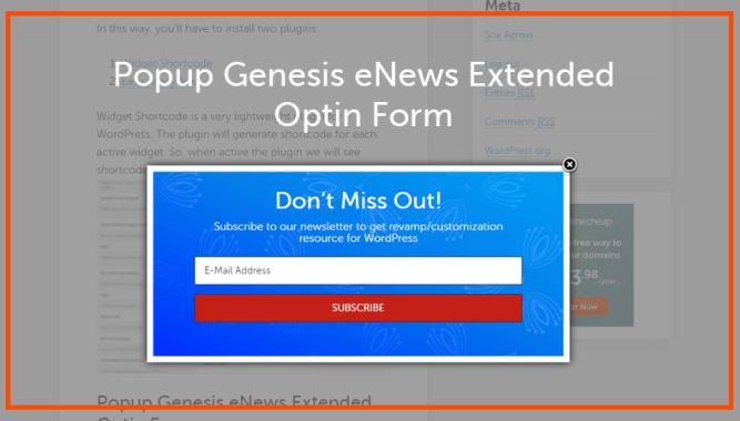 Popup eNews Extended Optin Form