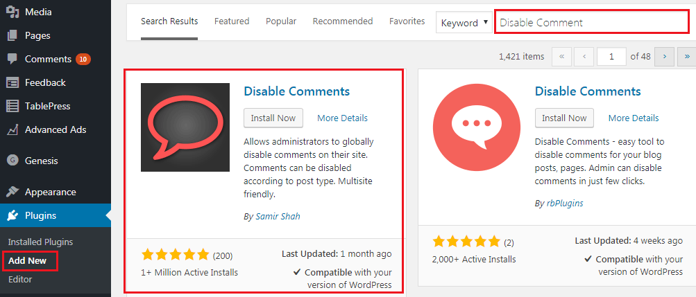 How to Disable Comments on WordPress - Disable Comments Plugin Instalation