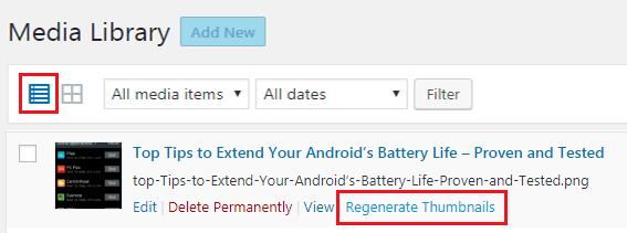 How to Regenerate Custom Thumbnail Image Size - Regenerate Thumbnail Previous Uploaded Image