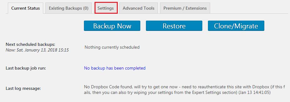 UpdraftPlus Backup Plugin Page