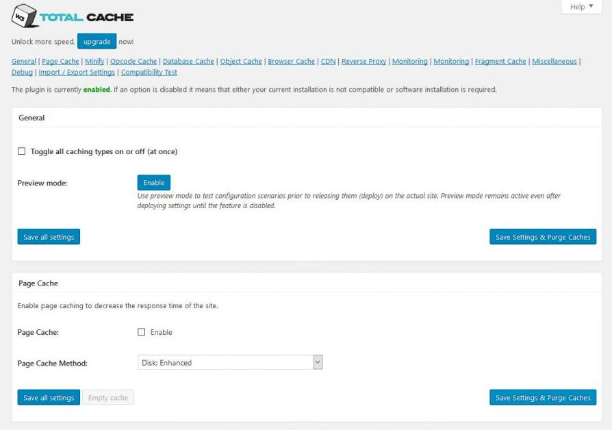 W3 Total Cache vs WP Super Cache - W3 Total Cache Setting Page