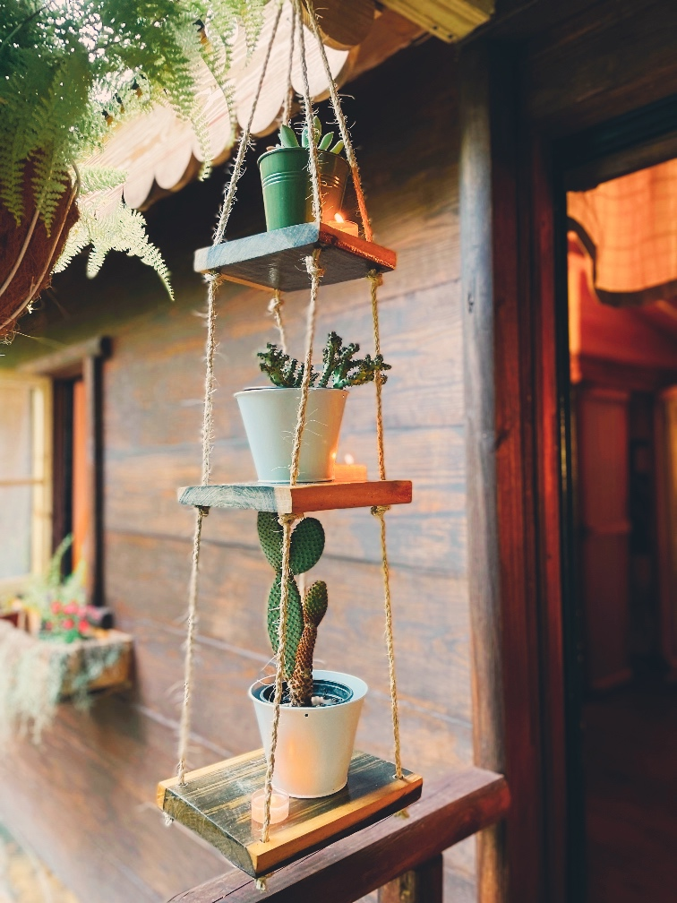 3 Tier Hanging Rope Shelves