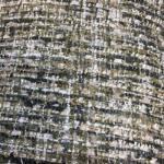 Chanel stoff mørkgrønn med gulltråd