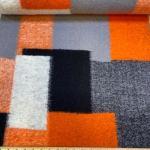 Kokt ull med ruter orange