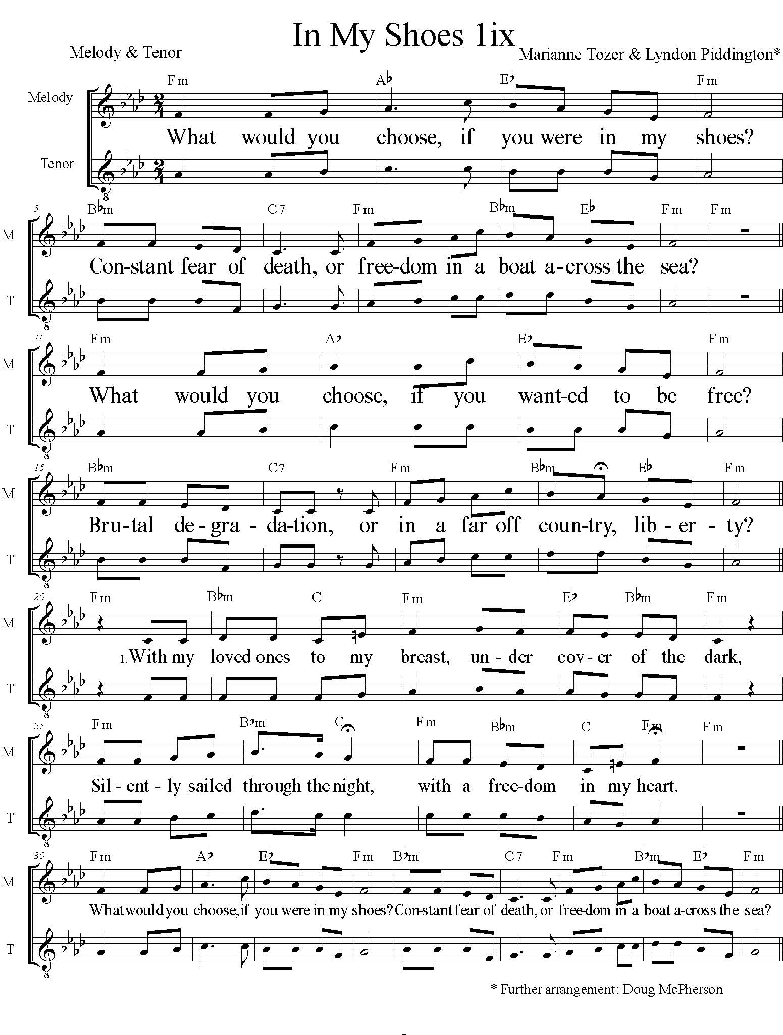 In My Shoes Sheet Music, Page 1 Fm