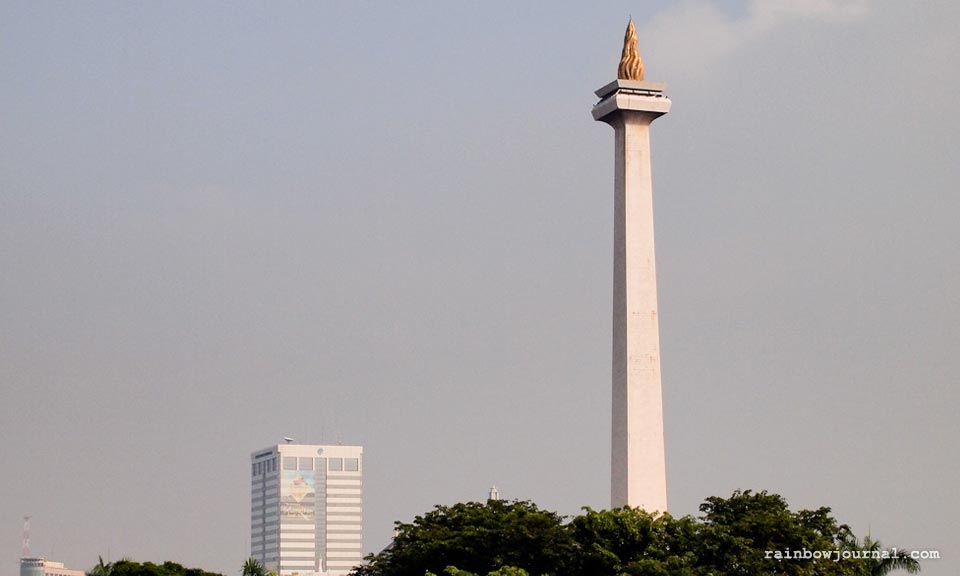 A view of Jakarta's Symbol of the fight for Indonesia monument at Gambir train station Jakarta. Jakarta to Yogyakarta by train.