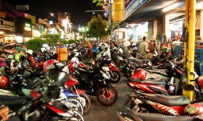 Parked motorbikes along Malioboro Street, Yogyakarta, Indonesia