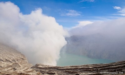 Crater of Kawah Ijen in Indonesia