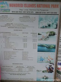 Tour rates to Hundred Islands National Park are posted all around Lucap Park