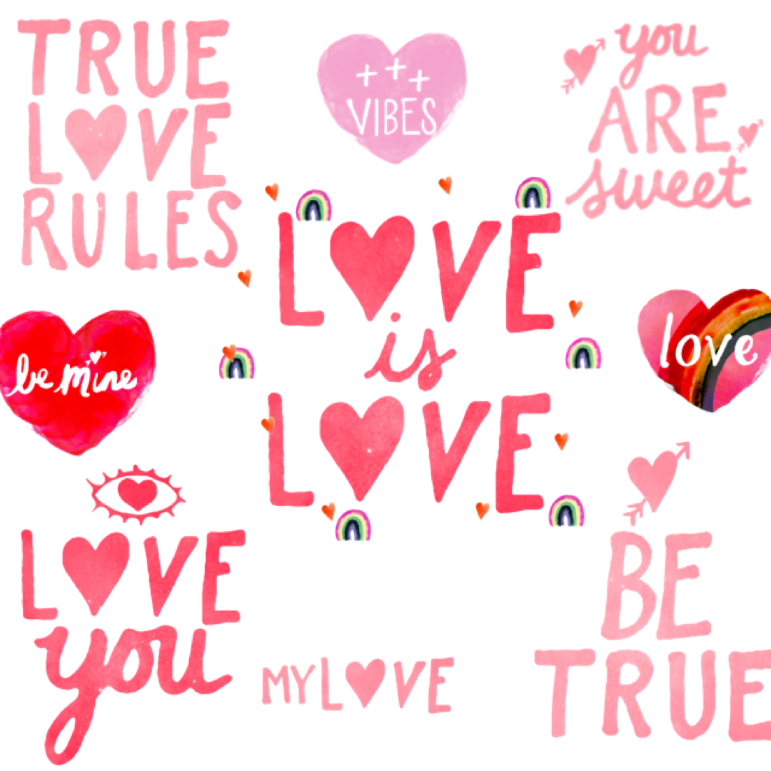 Make-A-Valentine's-Day-Card-With-Rainbow-Love-Photo-Editing-App's-Conversation-Heart-and-Love-Stickers-7
