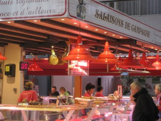 Red stall in Les Halles Centrales