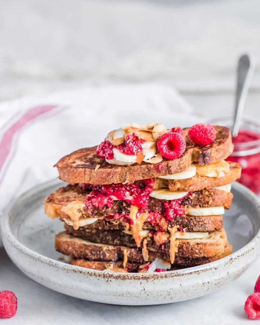 Peanut Butter, Banana, and Jam Sandwiches