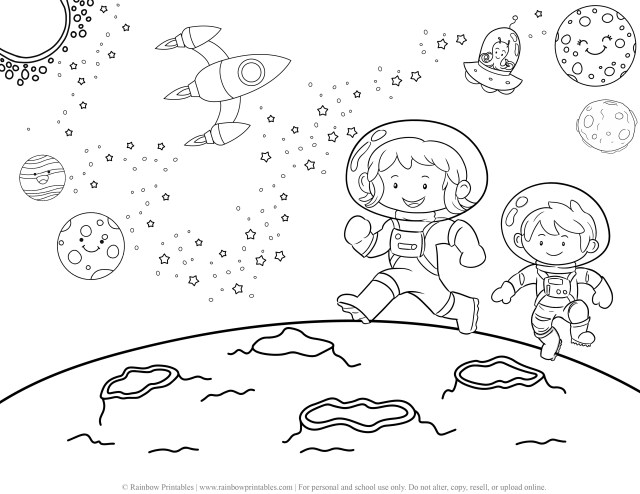 16 Rocket Ship, Cute Aliens & UFO in Outer Space Coloring Pages