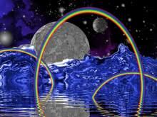 background blue mainly with rainbow arcs