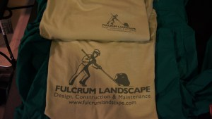 Screen printed gear for Fulcrum Landscaping