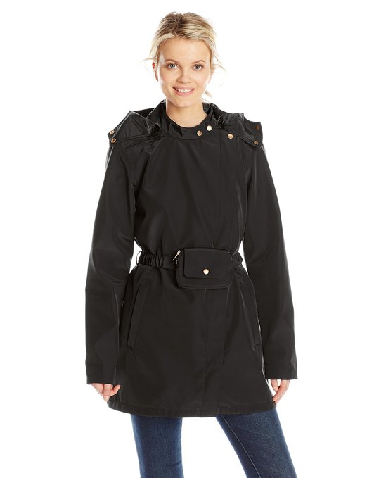 ILSE JACOBSEN Women's Asymmetrical Zip Raincoat with Hood