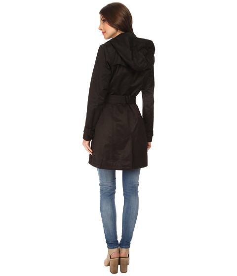 Black Double Breasted Button Up Trench Coat