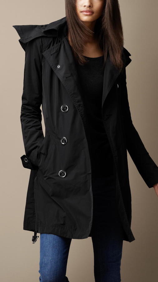 Burberry Brit Hooded Taffeta Trench Coat