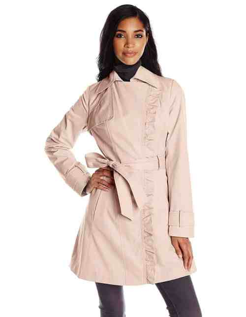 Jessica Simpson – Asymmetrical Zip Ruffle Front Trench (Blush) Women's Coat