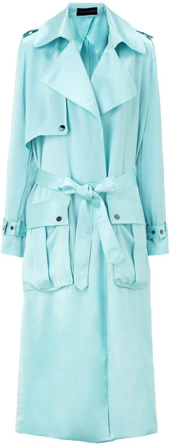 Michael Lo Sordo Baby Blue Long Silk Trench Coat