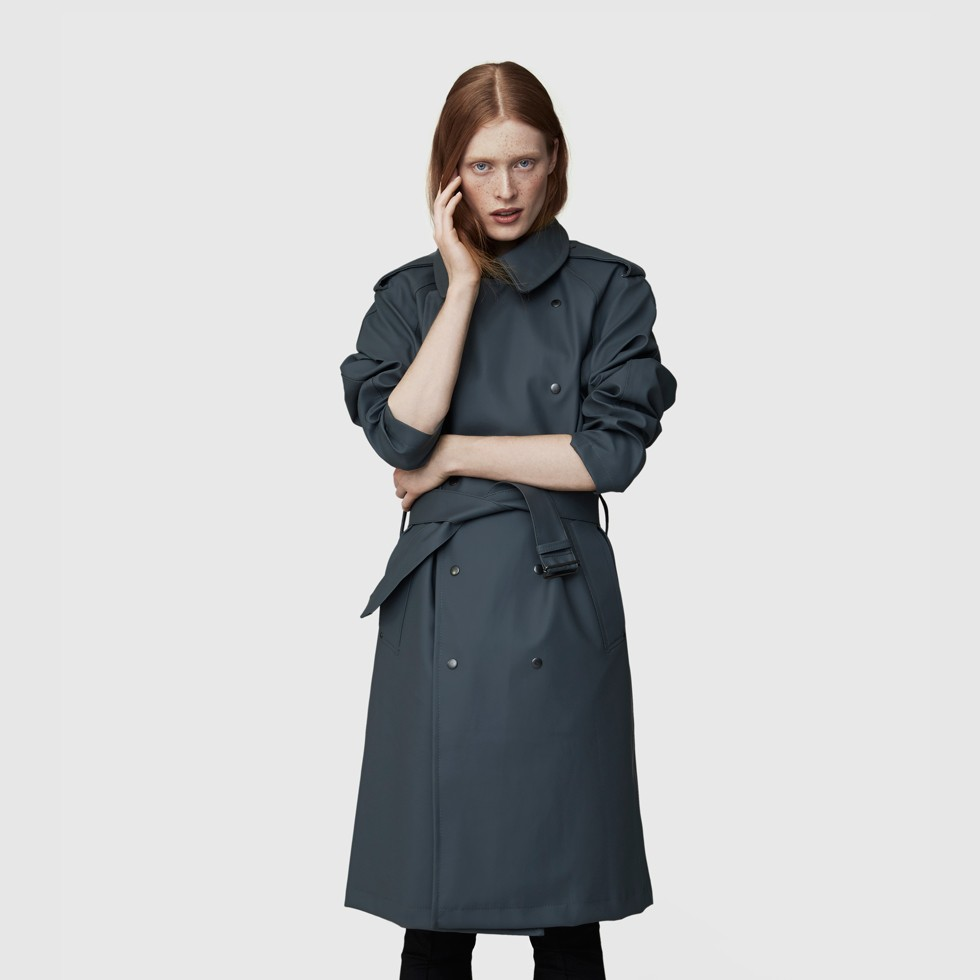 Rubberized Cotton Trench Coat For Ladies - Ture Charcoal