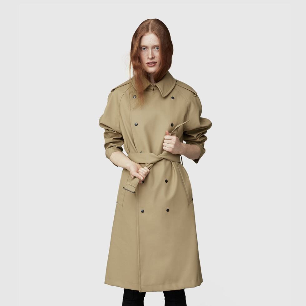 TURE SAND Stutterheim Women's Rubberized Cotton Trench Coat