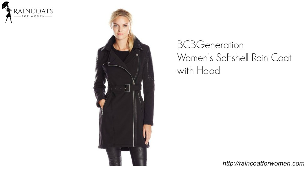 BCBGeneration Women's Softshell Rain Coat with Hood