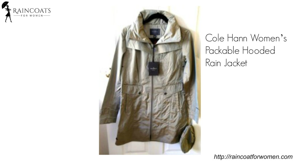 Cole Hann Women's Packable Hooded Rain Jacket