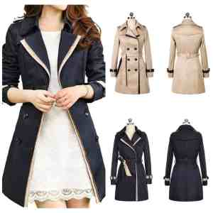 Uget Elegant Women's Long Trench Coat With Belt