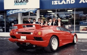 With the Alpine Electronics Lamborghini Diablo at Island Audio, 1991