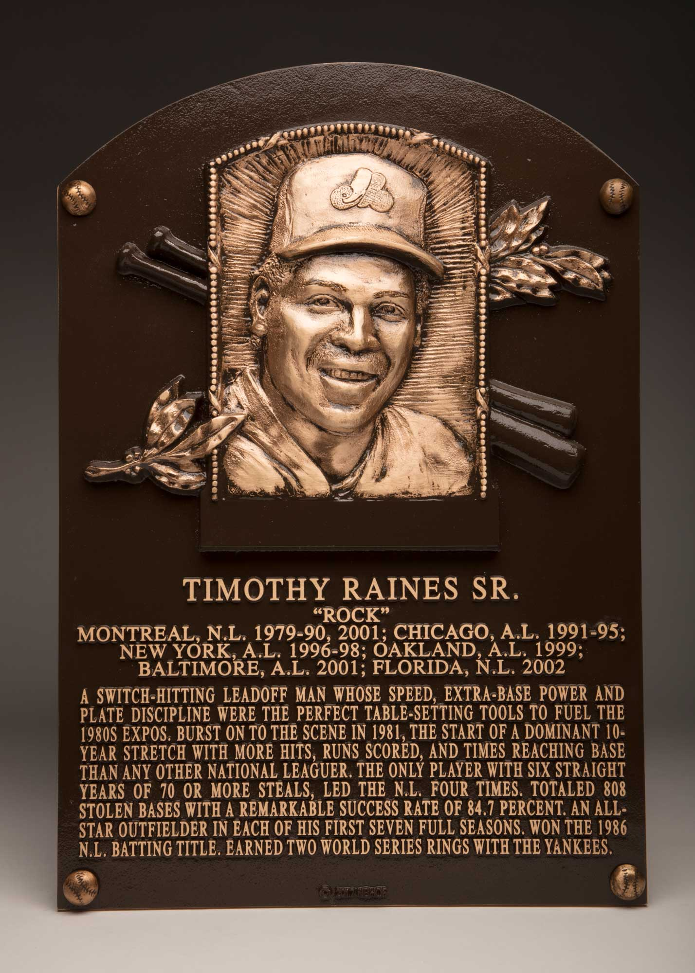 Image result for Tim Raines Hall of fame plaque