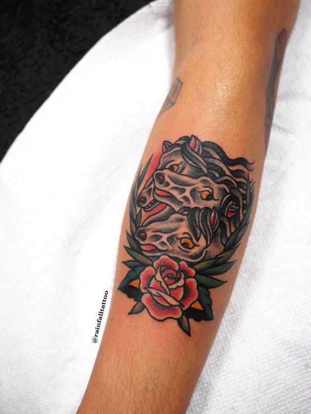 traditional tattoo rose pharaorhorses