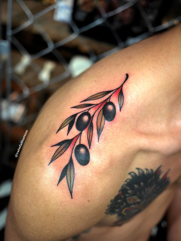 tattoo traditional oldschool olivebranch flower