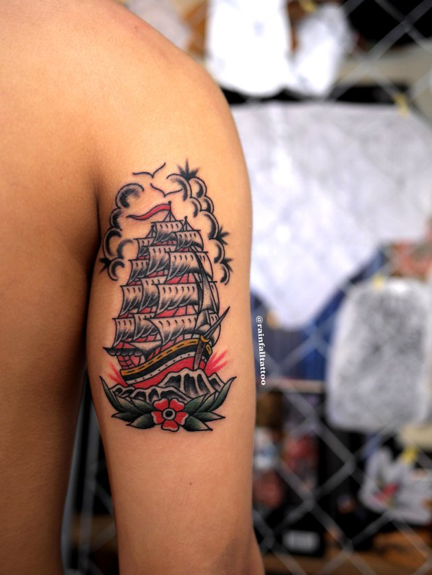 tattoo traditional oldschool ship flower