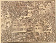 Raid on Zürich in 1350 -- woodcut from Johannes Stumpf's history of Zürich
