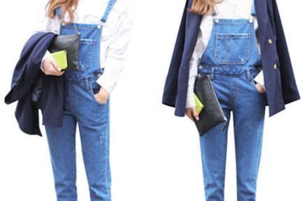 淘寶購物 | 兩款牛仔吊帶褲穿搭 深色 vs 淺色