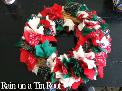 Old Wreath turned into a Tinsel Wreath