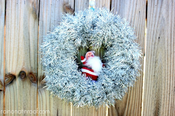 DIY Santa Tinsel Wreath