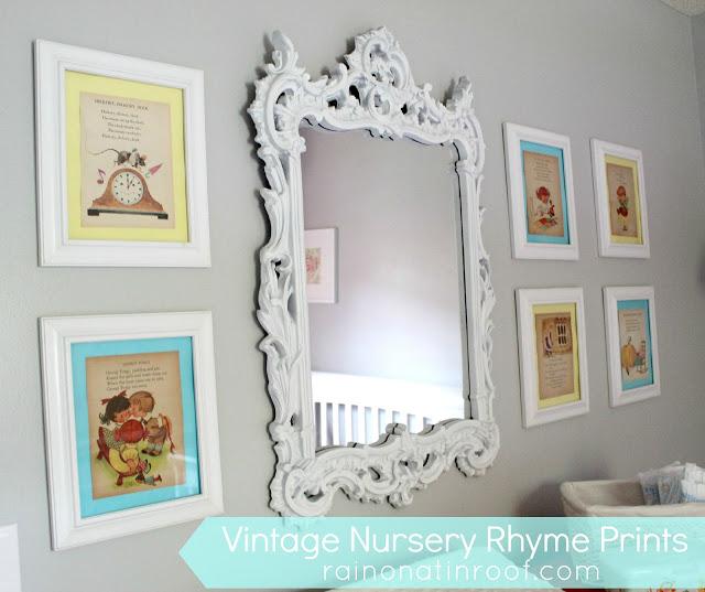 Framed Vintage Nursery Rhymes - Nursery Art
