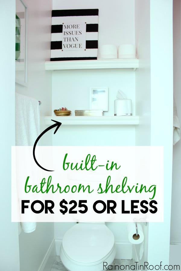 DIY Built In Bathroom Shelves Above Toilet