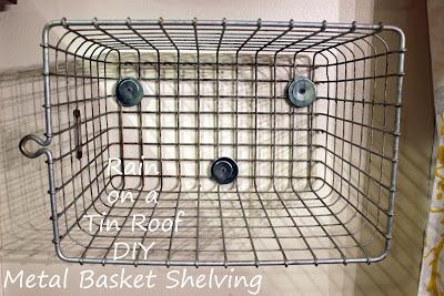 Mounting vintage locker baskets to make shelves.