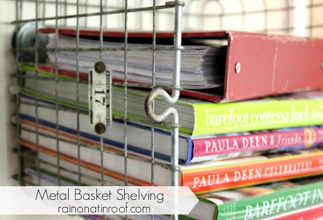 How to Make Metal Basket Shelving from Vintage Locker Baskets