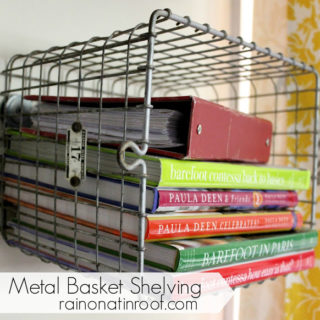 Vintage Locker Baskets turned Shelves