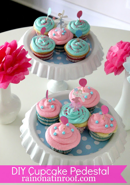 DIY cupcake holder from thrift store items