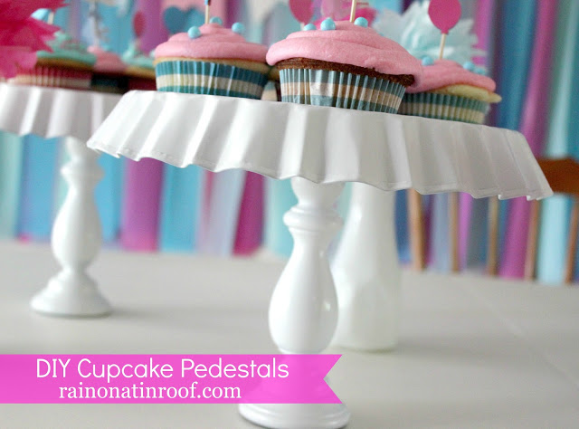 how to make a cupcake stand - blue and white cupcake stand